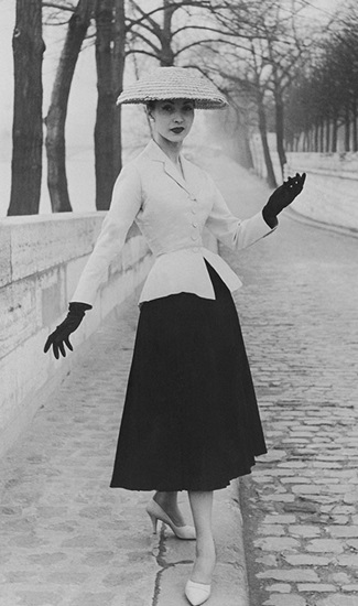 """1947 Christian Dior's """"New Look"""", which debuted in 1947."""